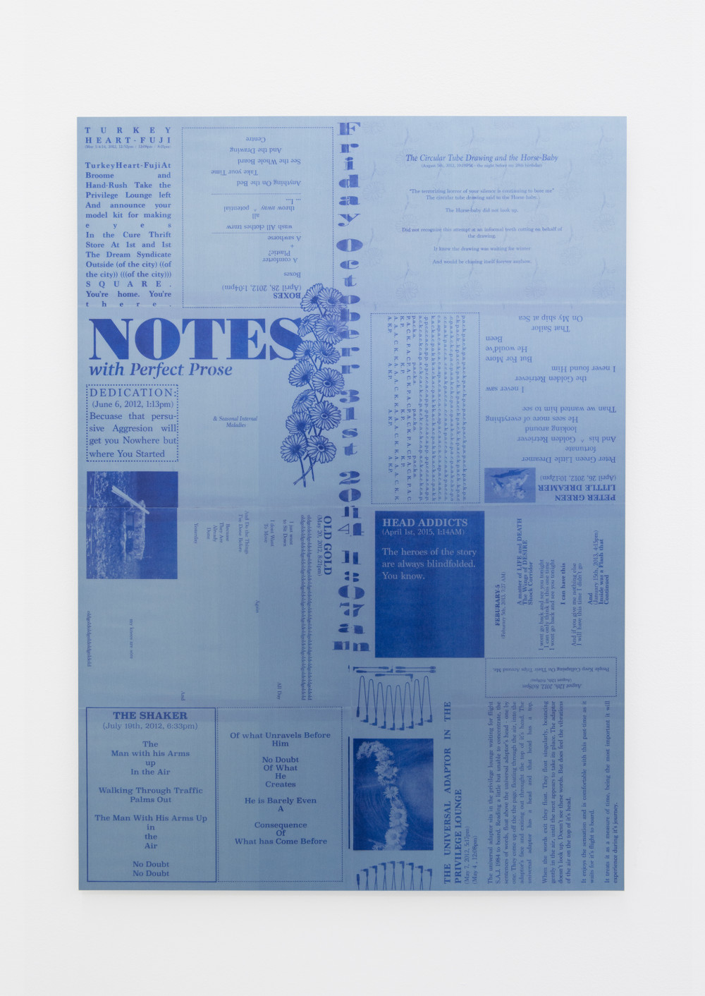 Sylvia Jeffriess Notes with Perfect Prose (Blue), 2015 Polyester and acrylic urethane on aluminum panel