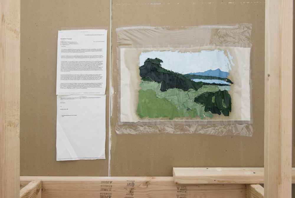 Am Schmidt Proposal and sketch (The Annandale-on-Hudson Landscapes), 2015 Printed email, oil on newsprint, plastic wrap, scotch tape