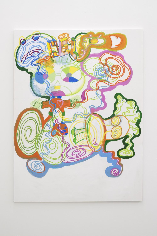 Rafael Delacruz Stomach Ache / Food Poisoning, 2016 Acrylic and oil pastel on canvas