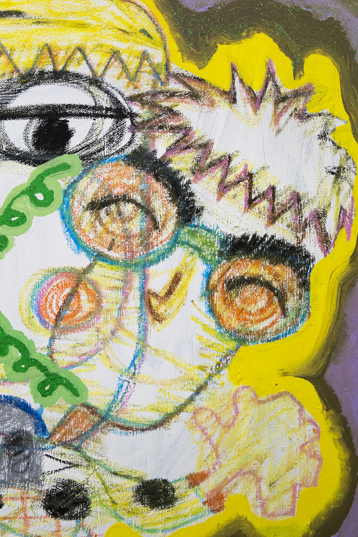 Rafael Delacruz Snot (Detail), 2016 Acrylic, oil pastel, and glitter on canvas