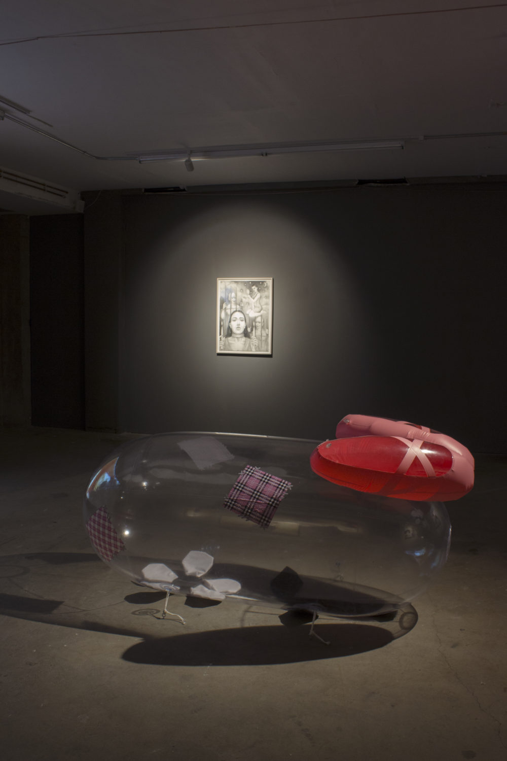 Flannery Silva i would sooner destroy my manhood than betray your heart, 2016 Inflatable , pleather, vinyl, decals