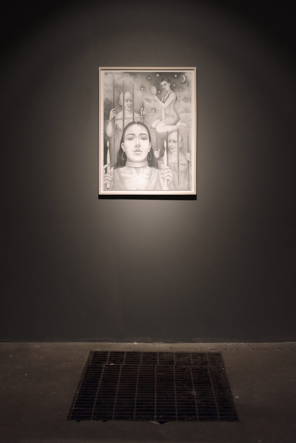 Flannery Silva i would sooner destroy my manhood than betray your heart (Installation view), 2016 Graphite drawing by Ion Birch on paper