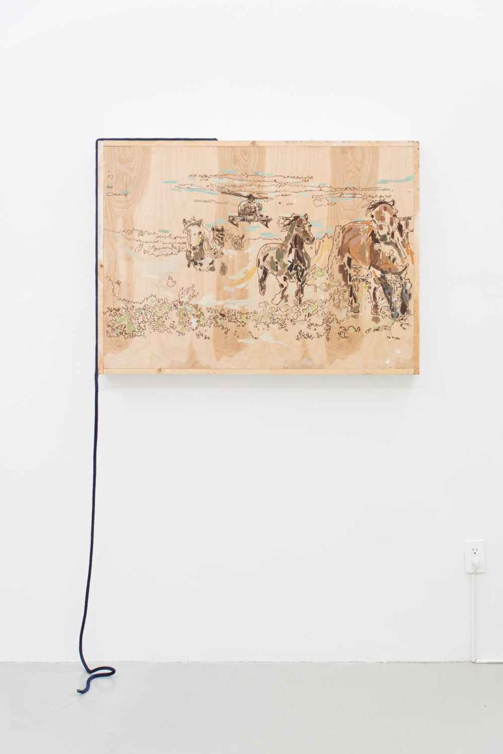 Rebecca Peel Present-day New Mexico, 2016 Wood, gouache, galvanized steel, polyester rope