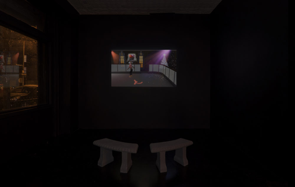 Jacky Connolly Hudson Valley Ruins (Installation view), 2016 Video, color, sound, benches 30 minutes