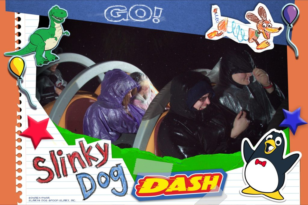 Heather and Brian Riding Slinky Dog Dash in the Pouring Rain and Cold