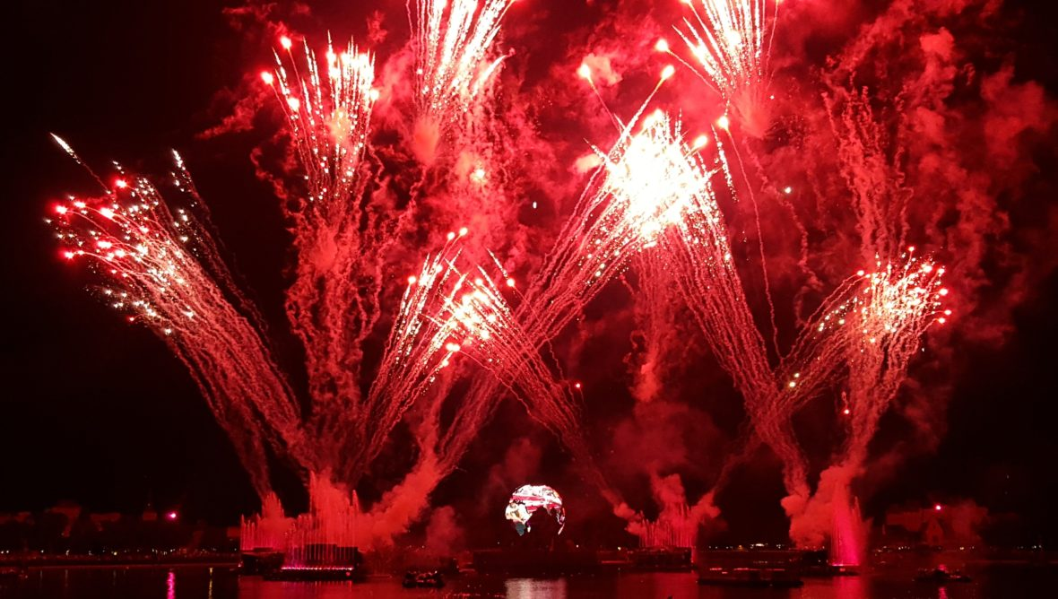 Earth Globe and illuminations Fireworks at Epcot World Showcase