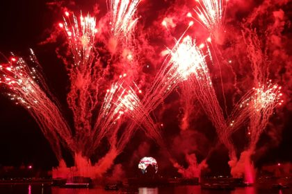 Earth Globe and illuminations Fireworks at Epcot World Showcase
