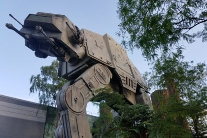 An All Terrain Armored Transport (AT-AT) in front of Star Tours in Disney's Hollywood Studios