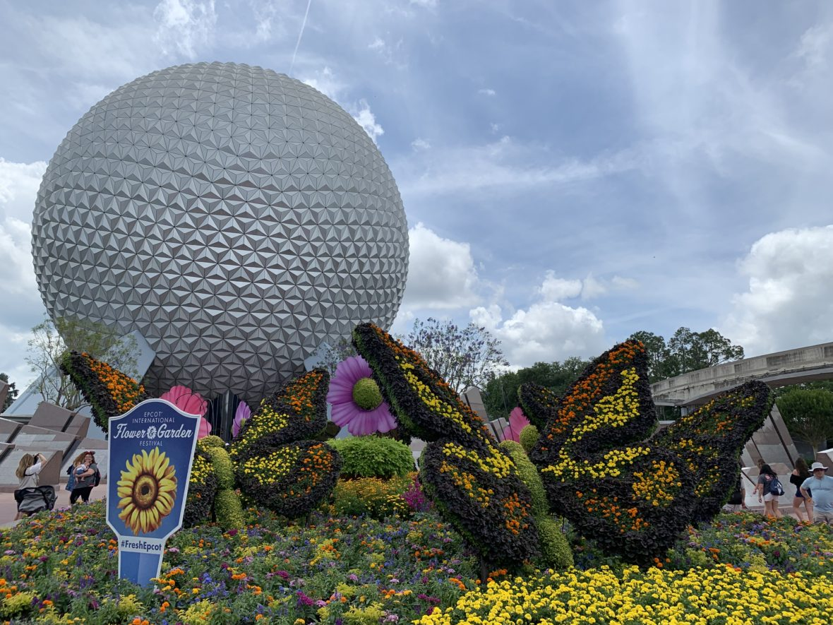 Image of the Topiaries in front of Spaceship Earth for the 2019 Epcot International Flower and Garden Festival