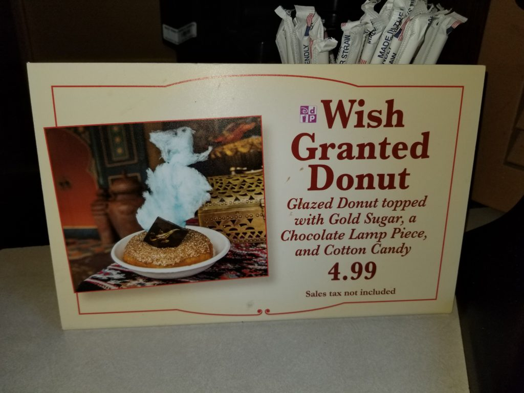 """Sign for the """"Wish Granted Donut"""" at Sunshine Tree Terrace - $4.99 Sales tax not included"""