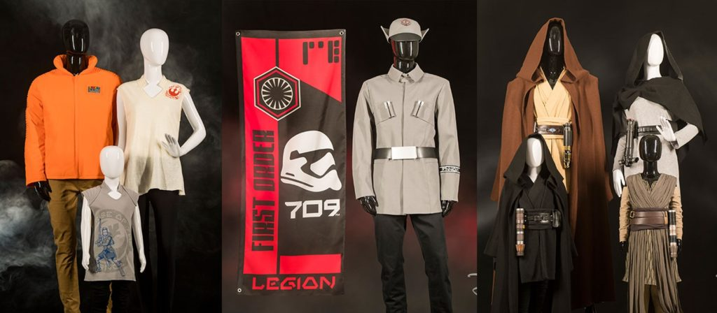 Three sets of mannequins wearing Star Wars themed clothing from left to right, Resistance Supply, First Order Cargo, and Black Spire Outfitters.