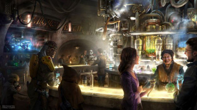 Concept art of a group of people and aliens around a bar with a bartender.