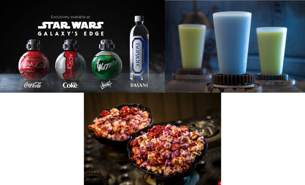 Clockwise: Star Wars themed Coke, Diet Coke, Sprite, and Dasani Water bottles; three glasses of blue and green milk; and the Outpost Mix. ©Disney