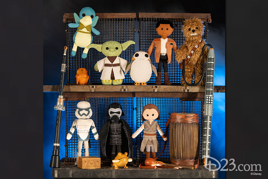Toy dolls of Star Wars characters and instruments.