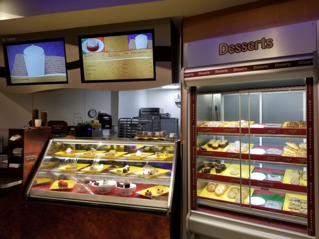 The desserts portion and cookie display case of Sunshine Seasons in Epcot's Land Pavilion.