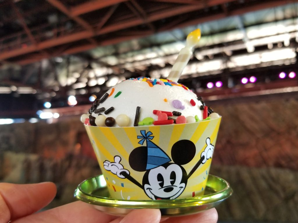 Mickey Celebration Cake After 30+ Minutes in 91 Degree Heat at the Indiana Jones Epic Stunt Spectacular in Walt Disney World
