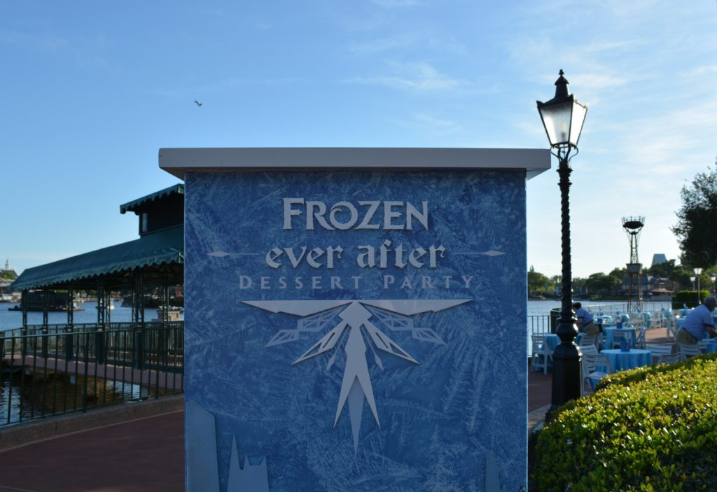 A Sign for the Frozen Ever After Dessert Party in Epcot's World Showcase