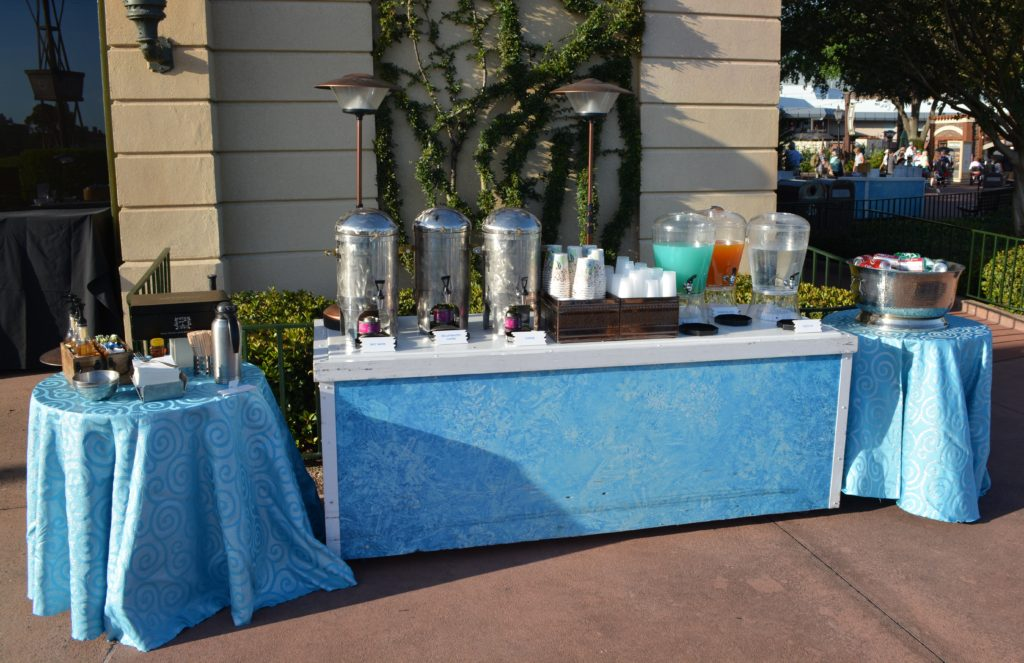 The non-alcoholic drink station at the Frozen Ever After Dessert Party