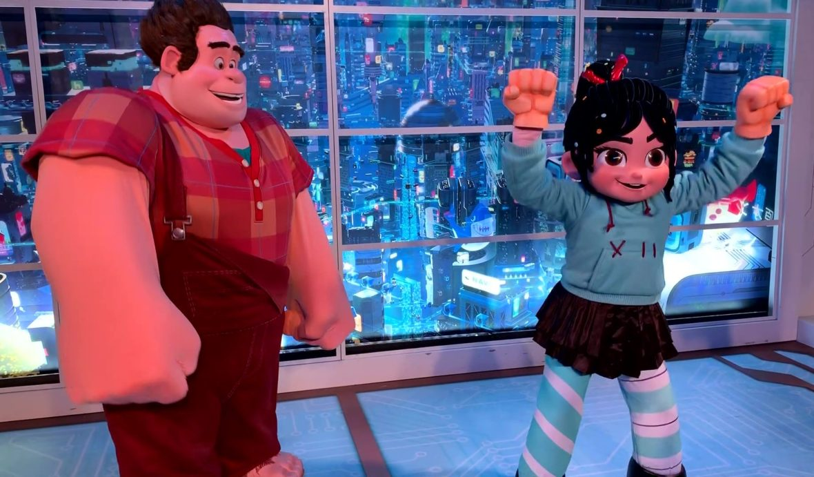 Meet and Greet with Ralph and Vanellope from Wreck-It Ralph with Vanellope Wearing the Smash Fists