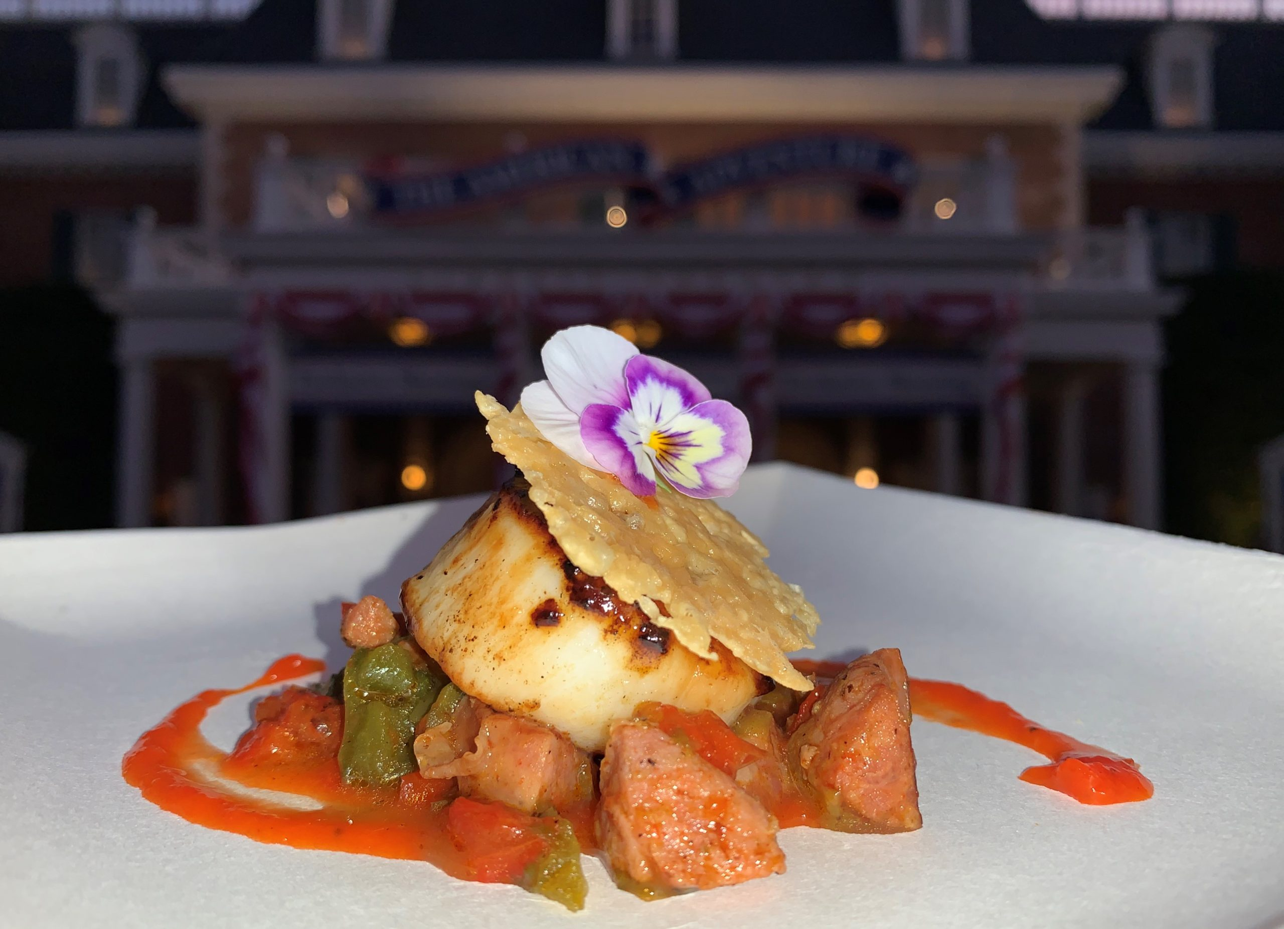 Pan-Seared Scallop with Chorizo, Roasted Red Pepper Coulis and a Parmesan Crisp from The Artist's Table in America