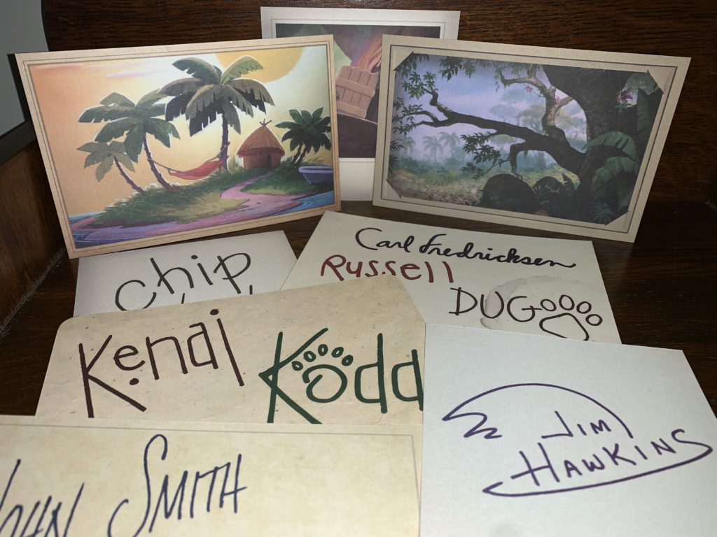 Autograph cards for Disney characters at the DVC Moonlight Magic 2020 Animal Kingdom event.