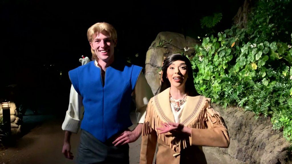Pocahontas and John Smith at DVC Moonlight Magic 2020