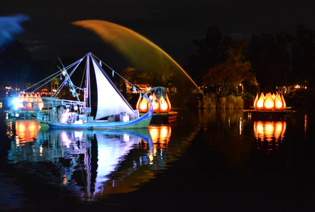 Rivers of Light: We Are One Boats and Fountains Reflected on Discovery River