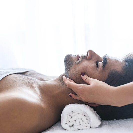 Man Getting a Facial Butterfly Medspa Houston