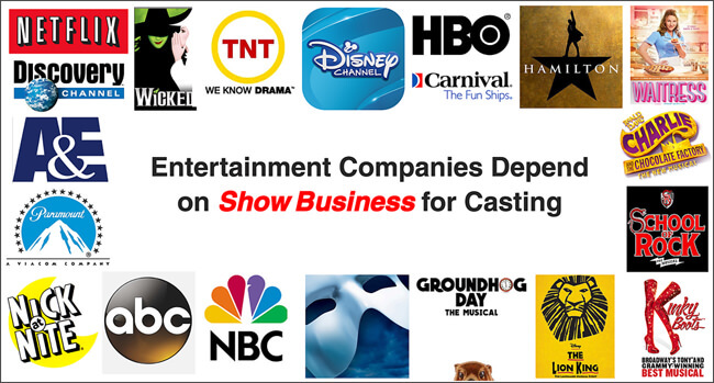 Entertainment companies that cast with Show Business