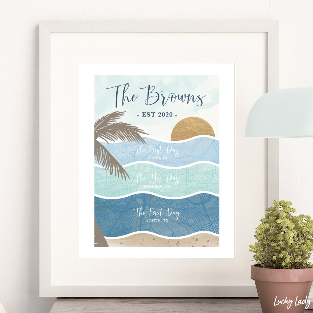 personalized beach map wall art print