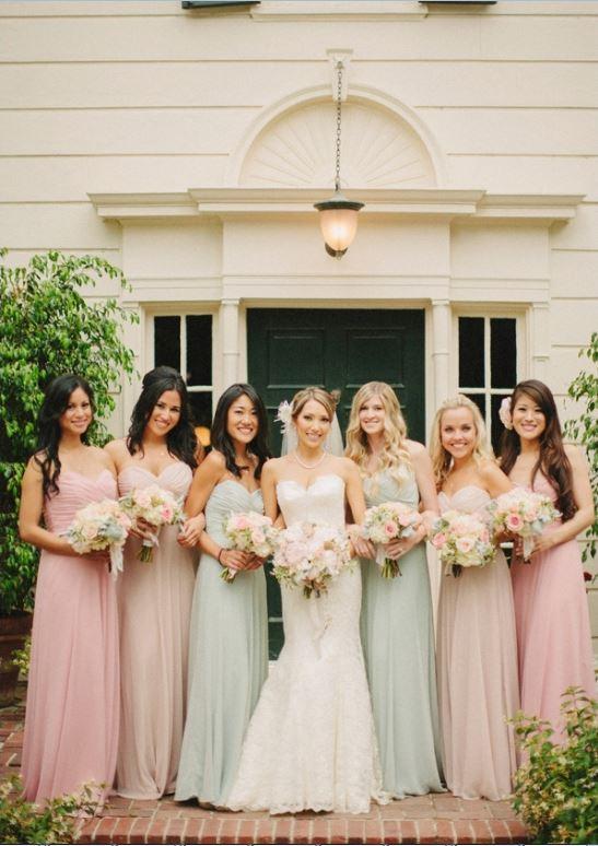 Same Dress Different Colors Bridesmaids