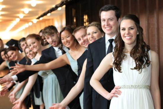 Fun wedding party pose