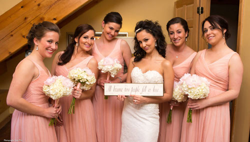 Bridesmaids Pose at Vineyard Wedding