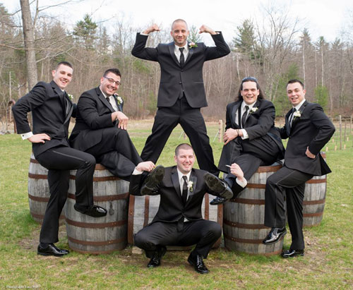 Groomsmen Pose at Vineyard Wedding
