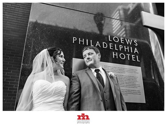 Bride and Groom Loews Philadelphia Hotel
