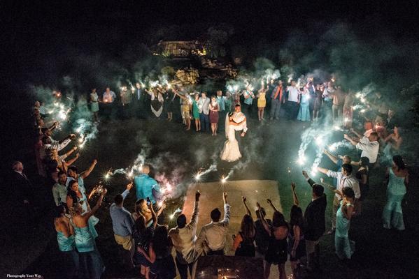 Sparkler Ending at Wedding