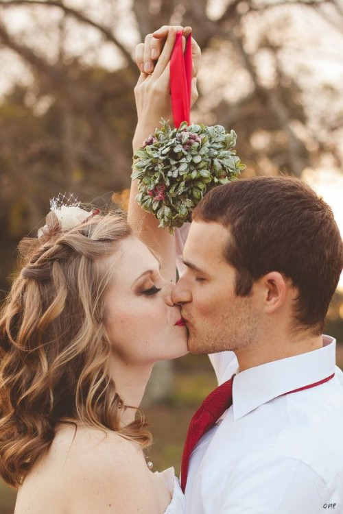 Bride and Groom Mistletoe Kiss
