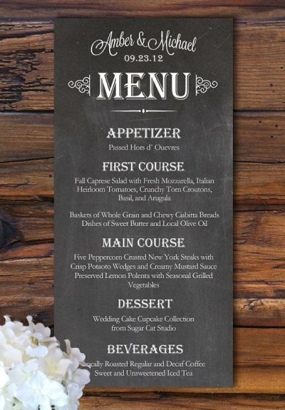 Wedding Sign Menu