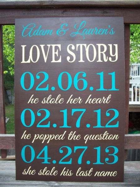Wedding Sign Love Story