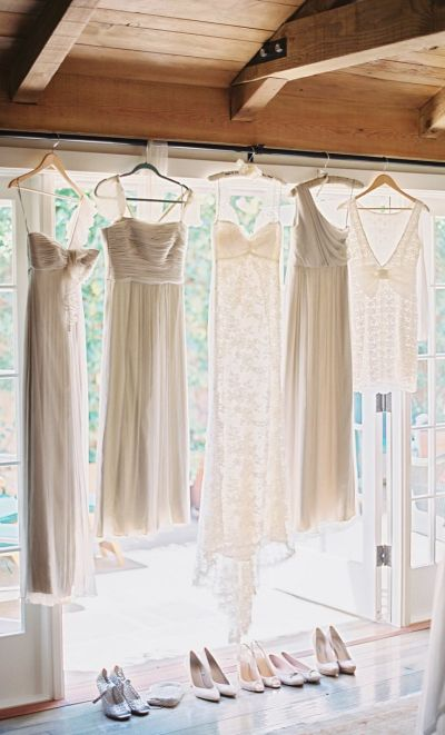 bridesmaids and bride dress hanging
