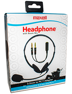 Stereo Headphones with Boom Mic and PC Y Adapter