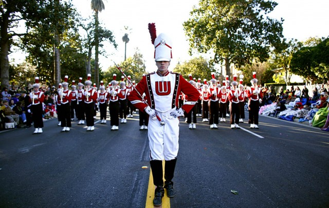 "The University of Wisconsin Marching Band appears in the 122nd Rose Parade, themed ""Building Dreams, Friendships,"" in Pasadena January 1, 2011."