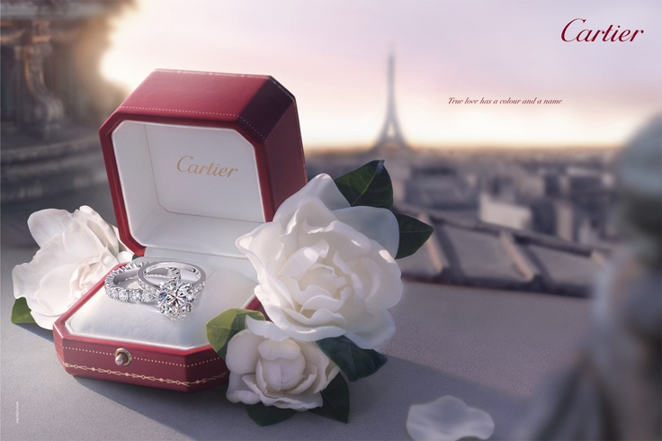 Cartier鑽石戒指搭配線戒廣告