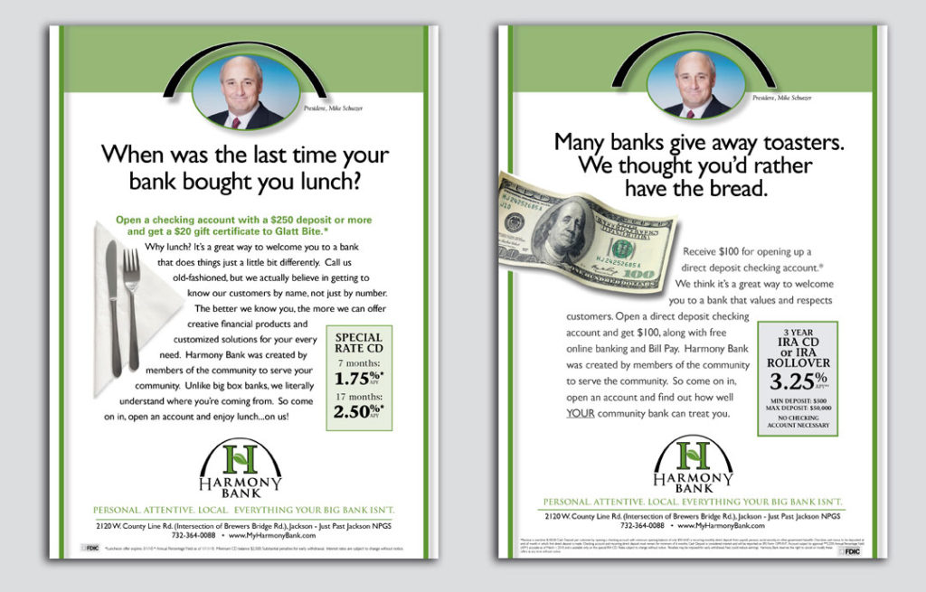 Ad campaign for Harmony bank