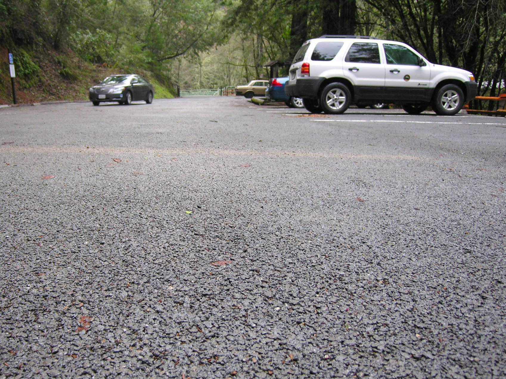 permeable pavement parking lot close up