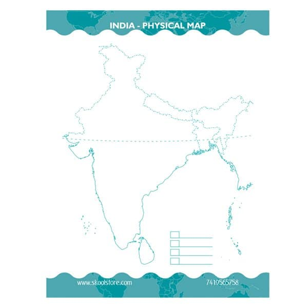 Reusable India Physical Map Practice Book(Reusable Book) - Skool Store