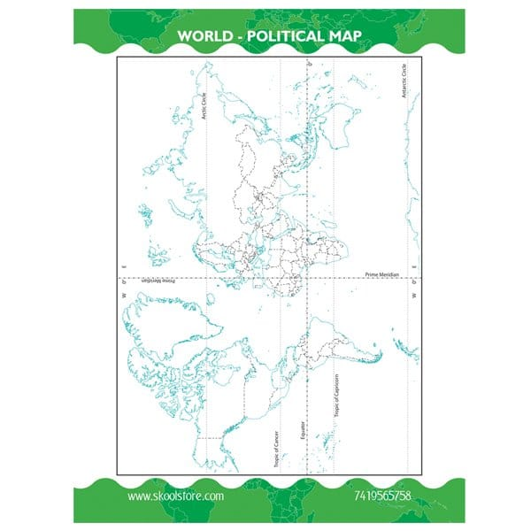 Reusable World Political Map Practice Book (Reusable Book)- Skool Store