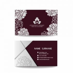 Business Card in Maroon & white Roses design (Pack of 100)