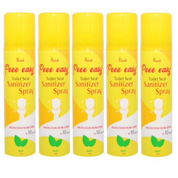 Peee Easy Toilet Seat Sanitizer Spray - 75 ml (Mint) (Pack of 5)