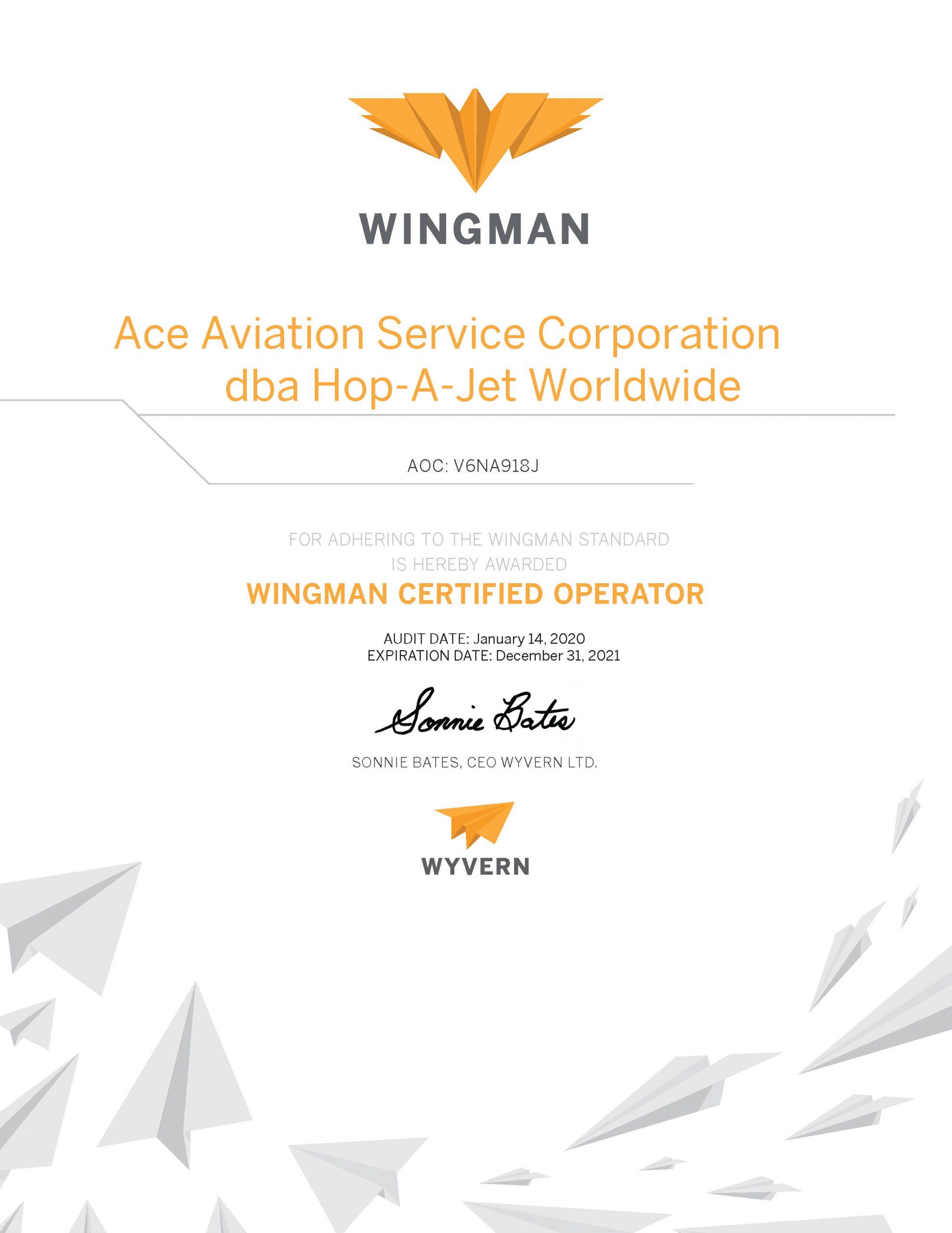 Wingman Certificate